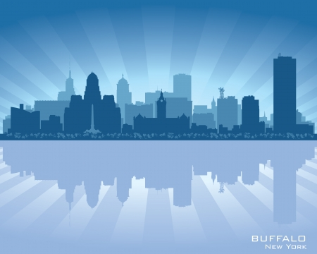 Buffalo, New York skyline city silhouette Vector