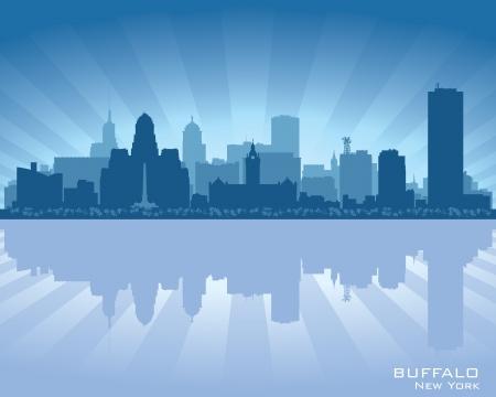 city silhouette: Buffalo, New York skyline city silhouette Illustration