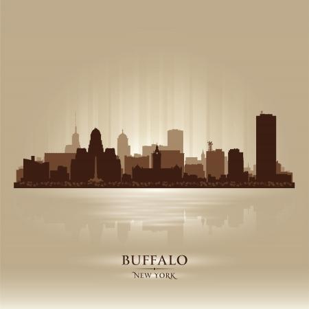 coastal city: Buffalo, New York skyline city silhouette Illustration