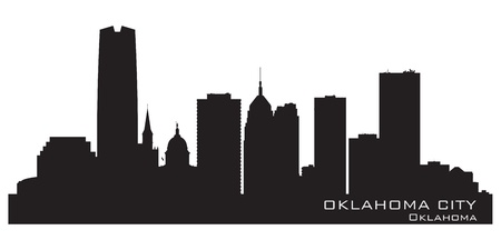 oklahoma: Oklahoma City skyline. Detailed silhouette. Vector illustration Illustration