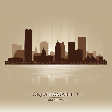 Oklahoma City skyline silhouette Stock Vector - 17598755