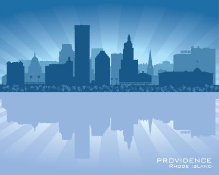 island state: Providence, Rhode Island skyline city silhouette