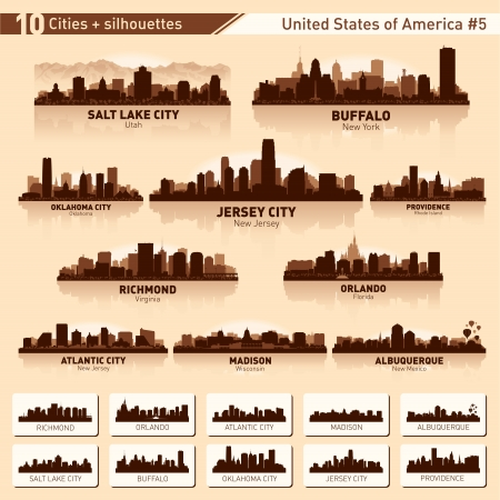 City skyline set. 10  city silhouettes of USA #5 Illustration