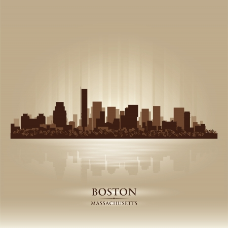 boston skyline: Boston, Massachusetts skyline city silhouette Illustration