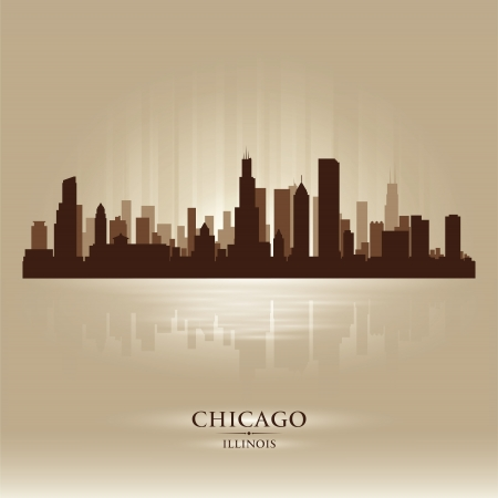 Chicago, Illinois  skyline city silhouette Vector