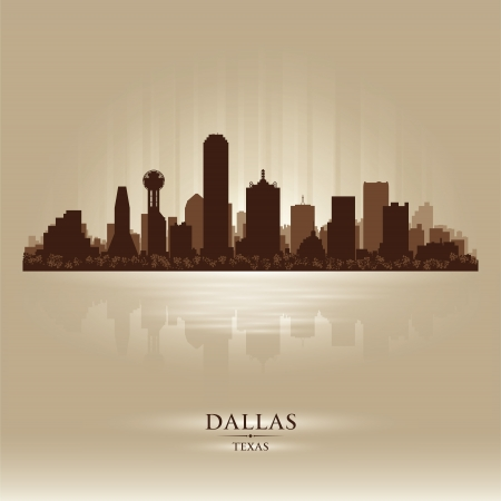 Dallas, Texas skyline city silhouette Vector