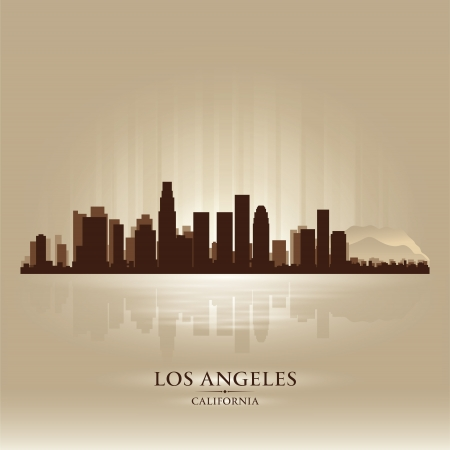 Los Angeles, California skyline city silhouette Vector