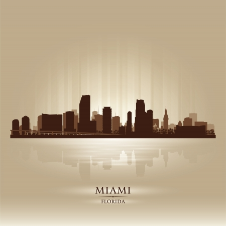 miami sunset: Miami, Florida skyline city silhouette Illustration