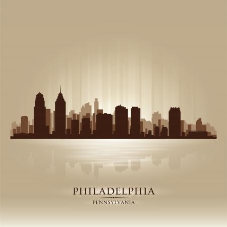 필라델피아: 필라델피아, 펜실베이니아의 스카이 라인 도시 실루엣