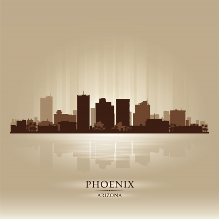 ave fenix: Phoenix, Arizona horizonte la silueta de la ciudad Vectores