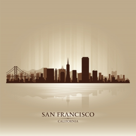 francisco: San Francisco, California skyline city silhouette Illustration