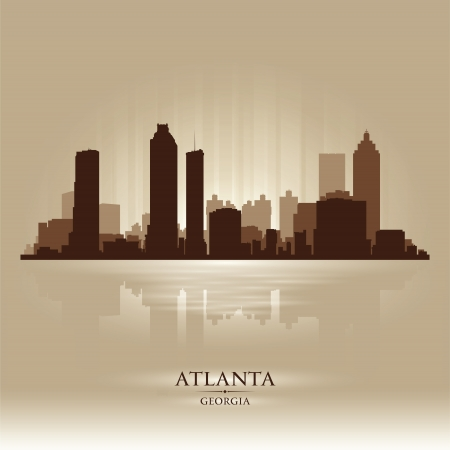 atlanta: Atlanta Georgia skyline city silhouette Illustration