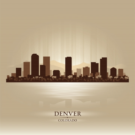 denver colorado: Denver Colorado skyline city silhouette