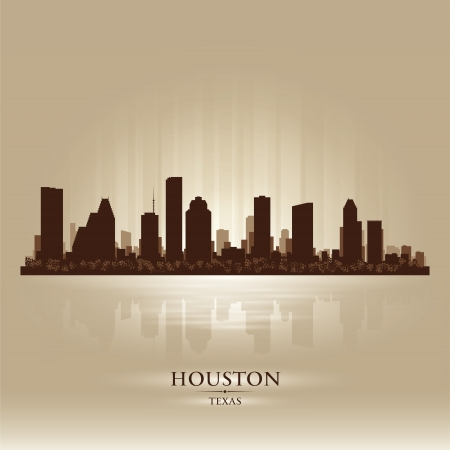 Houston Texas skyline city silhouette Stock Vector - 18069571
