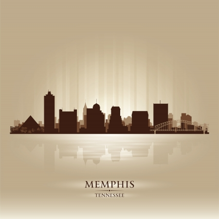 memphis: Memphis Tennessee skyline city silhouette Illustration