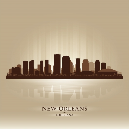 New Orleans Louisiana skyline city silhouette Vector