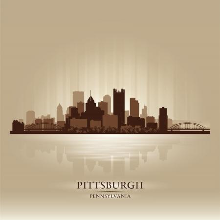 pennsylvania: Pittsburgh Pennsylvania skyline city silhouette