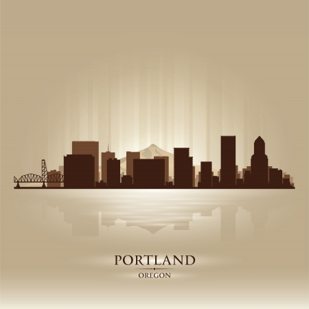 portland oregon: Portland Oregon skyline city silhouette Illustration