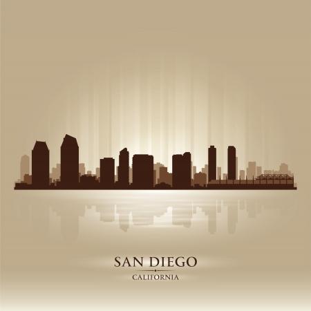 san diego: San Diego California skyline city silhouette Illustration