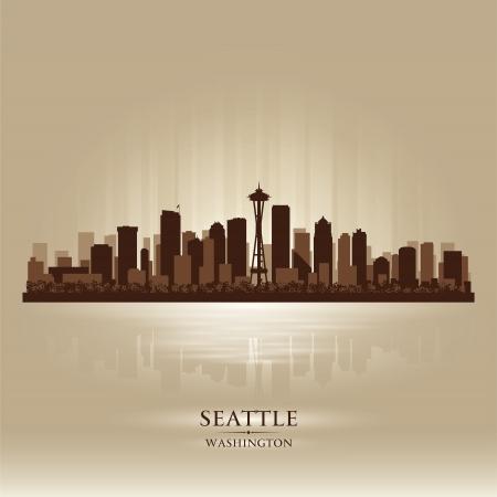 seattle: Seattle Washington skyline city silhouette Illustration