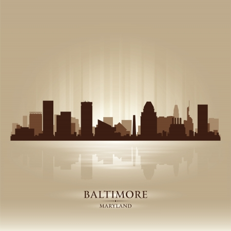 maryland: Baltimore Maryland skyline city silhouette