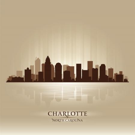 scraper: Charlotte North Carolina skyline city silhouette Illustration