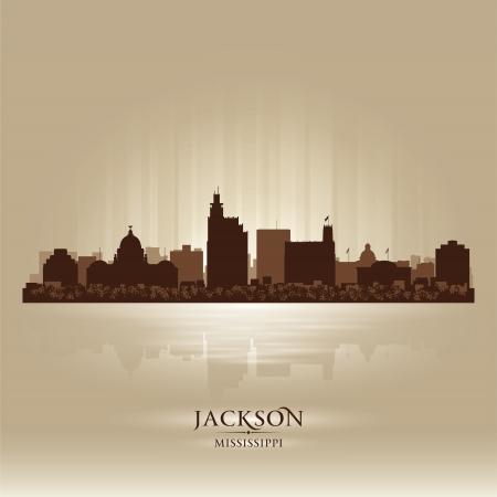 Jackson Mississipi toits de la ville silhouette
