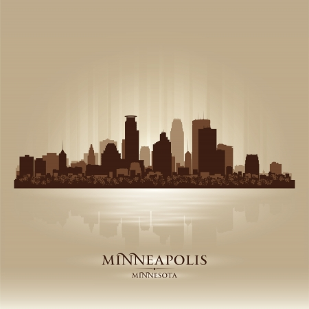 Minneapolis Minnesota skyline city silhouette Stock Vector - 18069591