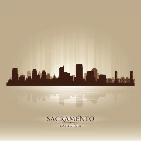 sacramento: Sacramento California skyline city silhouette