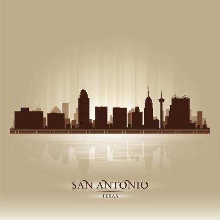 texas: San Antonio Texas skyline city silhouette Illustration
