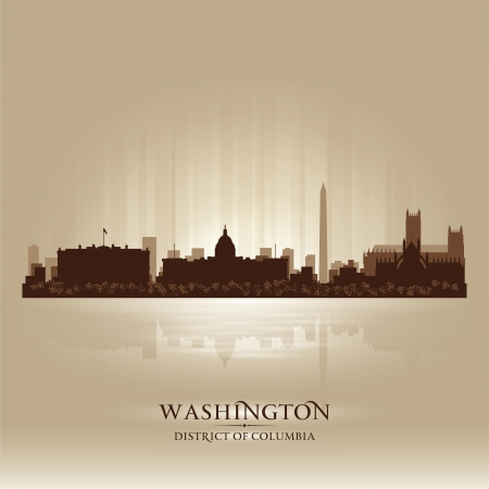 district columbia: Washington District of Columbia skyline city silhouette