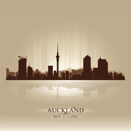 new zealand: Auckland New Zealand skyline city silhouette