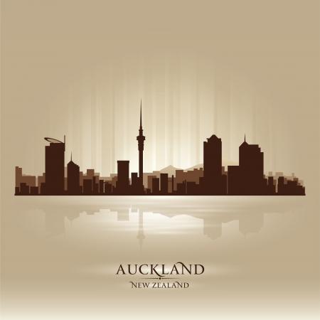 Auckland New Zealand skyline city silhouette Stock Vector - 18259208