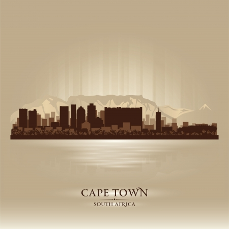 cape town: Cape Town South Africa skyline city silhouette