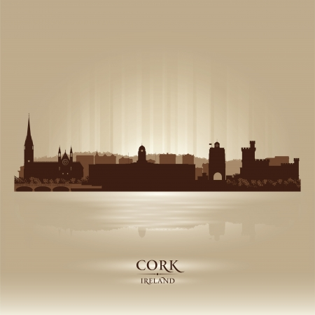 Cork Ireland skyline city silhouette Stock Vector - 18259231