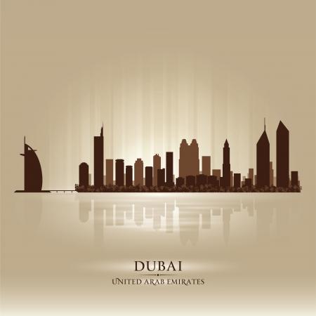 dubai: Dubai United Arab Emirates skyline city silhouette