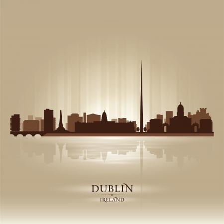 dublin ireland: Dublin Ireland skyline city silhouette