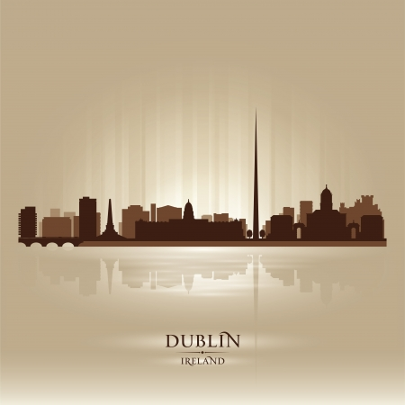 ireland cities: Dublin Ireland skyline city silhouette