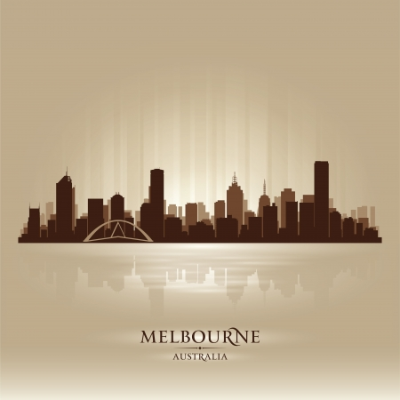 silhouette of a city: Melbourne Australia skyline city silhouette