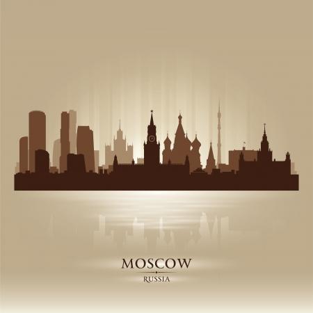 Moscú Rusia horizonte de la ciudad silueta Ilustración de vector