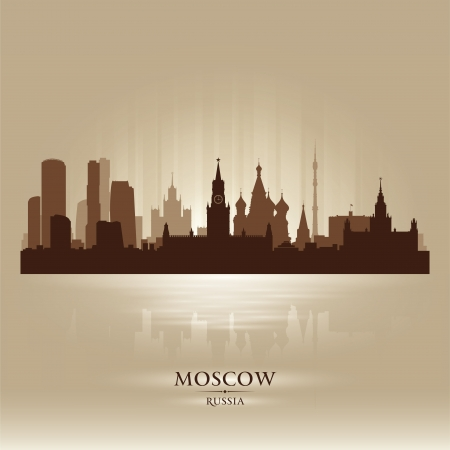 Moscow Russia skyline city silhouette Stock Vector - 18259224