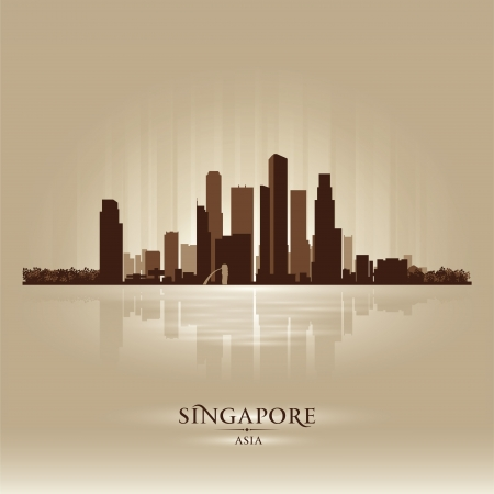scrapers: Singapore Asia skyline city silhouette