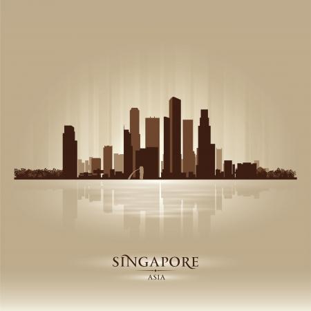singapore skyline: Singapore Asia skyline city silhouette