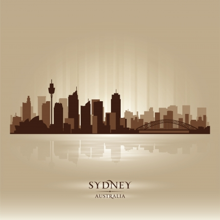 Sydney Australia skyline city silhouette Illustration