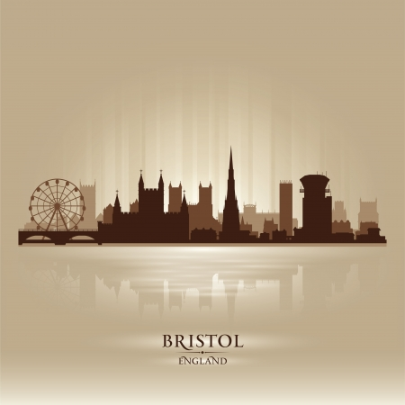 Bristol England skyline city silhouette Stock Vector - 18386227