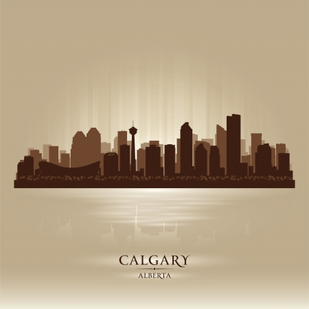 Calgary Alberta skyline city silhouette  Vector illustration Stock Vector - 18386236