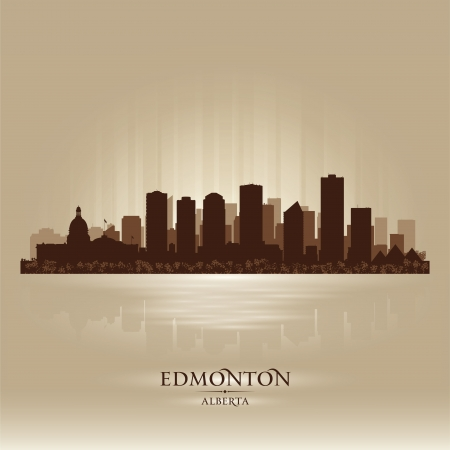 edmonton: Edmonton Alberta skyline city silhouette  Vector illustration