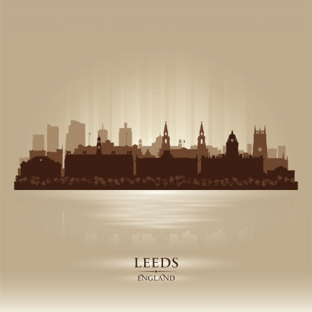 Leeds England skyline city silhouette Stock Vector - 18386235