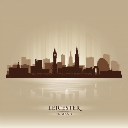 Leicester England skyline city silhouette Stock Vector - 18386232