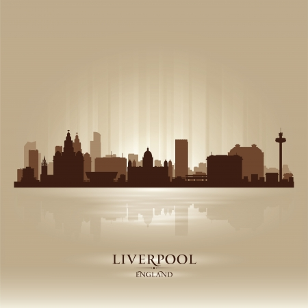 Liverpool England skyline city silhouette Stock Vector - 18386225